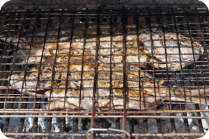 Charcoal grilled fresh fish