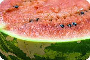 Watermelon - A Summer fruit, good watermelons are usually large with dark and light green stripes