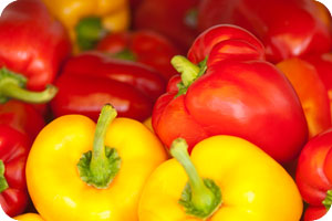 Green, Yellow and Red peppers