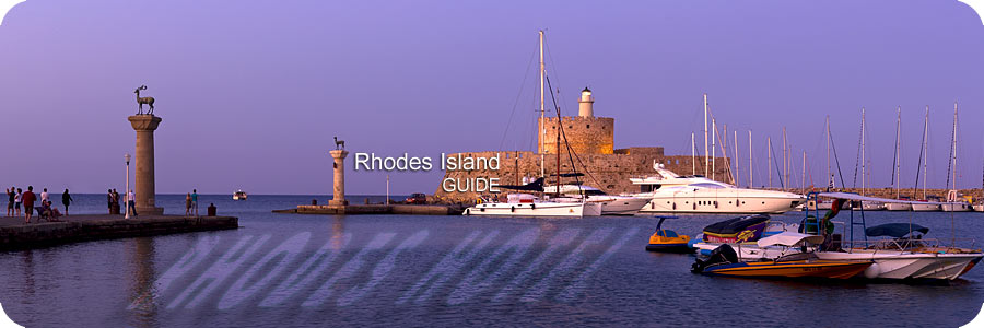 Rhodes Lighthouse at Mandraki Marina at the town of Rhodes Island by Evening